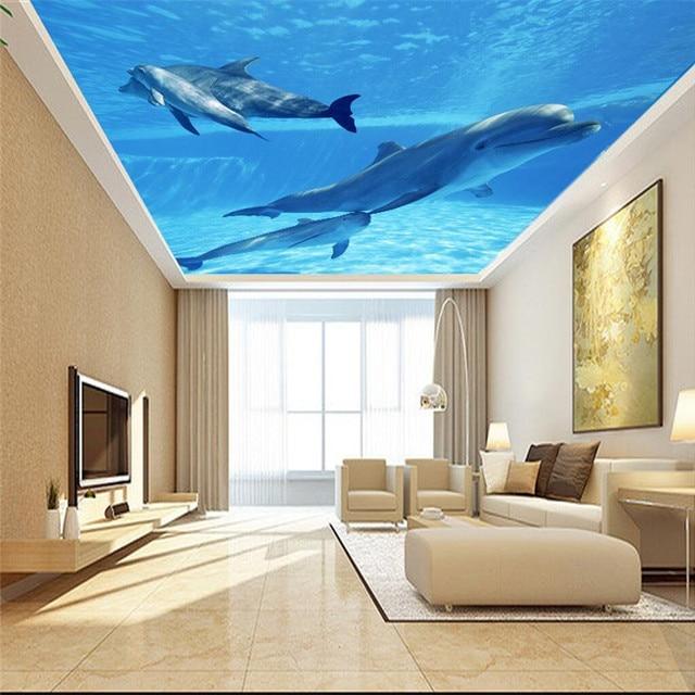 Beibehang Custom Mural Modern Biru Laut Lumba Lepas Landas Langit Wallpaper Ruang