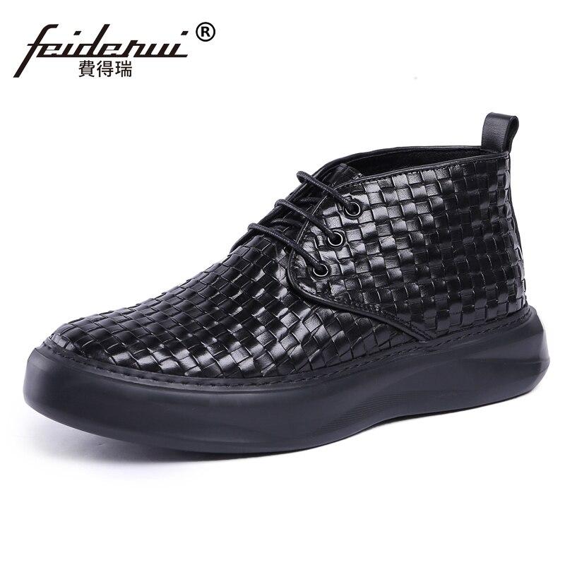 Hecha Hombres Negro Vaquero Mano Cuero Calzado Plataforma Cómodo A Calidad Js76 Alto Alta Plana Martin top Botines Hombre Auténtico Zapatos 1Pwf5xHq