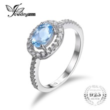 Jewelrypalace 1ct oval natural topacio azul plata de ley 925 anillo de compromiso clásico anillos de boda para las mujeres 2016 nueva moda