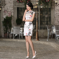 Female Pure Silk Cheongsam Women Chinese Traditional Dress Short Summer Satin Classical Lady Party Qipaos Mini