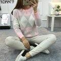 Конфеты Цвета Свитер Женщин 2016 Зима Новый Мода Argylar Трикотажные Пуловеры Высокое Качество Потяните Femme Sweter Mujer SZQ003