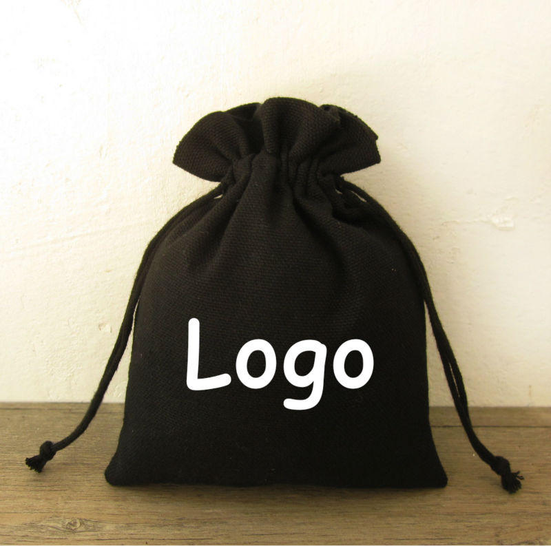 c4007c4939 Black Cotton Drawstring Bag Sachet/Decorative/Packaging/Gift/Jewelry Cloth  Pouches Custom Logo Print 50p-in Jewelry Packaging & Display from Jewelry  ...