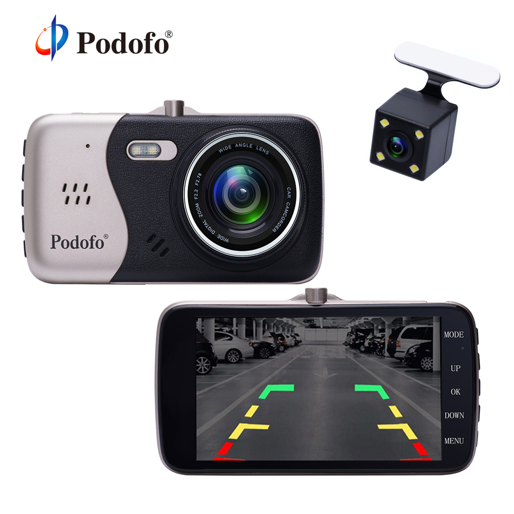 Podofo 4.0 inch Dash Camera Dual Lens 1080P FHD Car DVR Video Recorder G-sensor Registrator Parking Dash Vehicle Camera