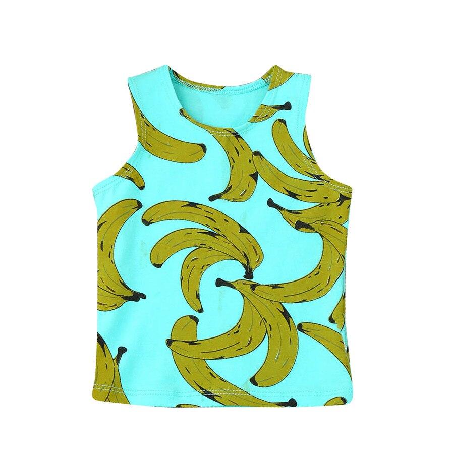 100% Kwaliteit Lncdis Nieuwe Katoen Pasgeboren Peuter Baby Jongens Meisjes Banana Print T-shirt Tops Vest Kleding Outfits Groothandel чебурашка футболк L4