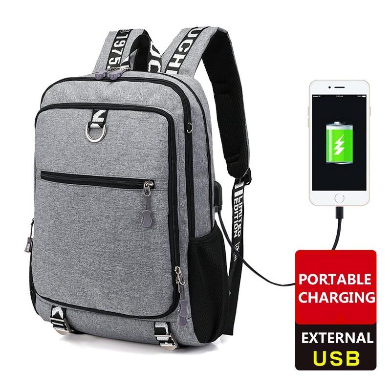 Arsmundi New Men Canvas Backpack 16 Inch Laptop Backpacks USB Charging Multi-function Large Capacity Travel Bag mochila feminina