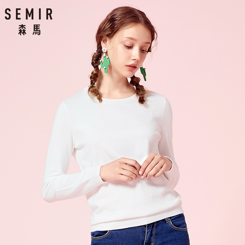 Image 3 - SEMIR 2019 Cashmere Knitted Sweater Women Pullovers Turtleneck Autumn Winter Basic Women Sweaters Korean Style Slim Fit Black-in Pullovers from Women's Clothing