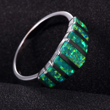 Women Green Fire Opal Gem Rings