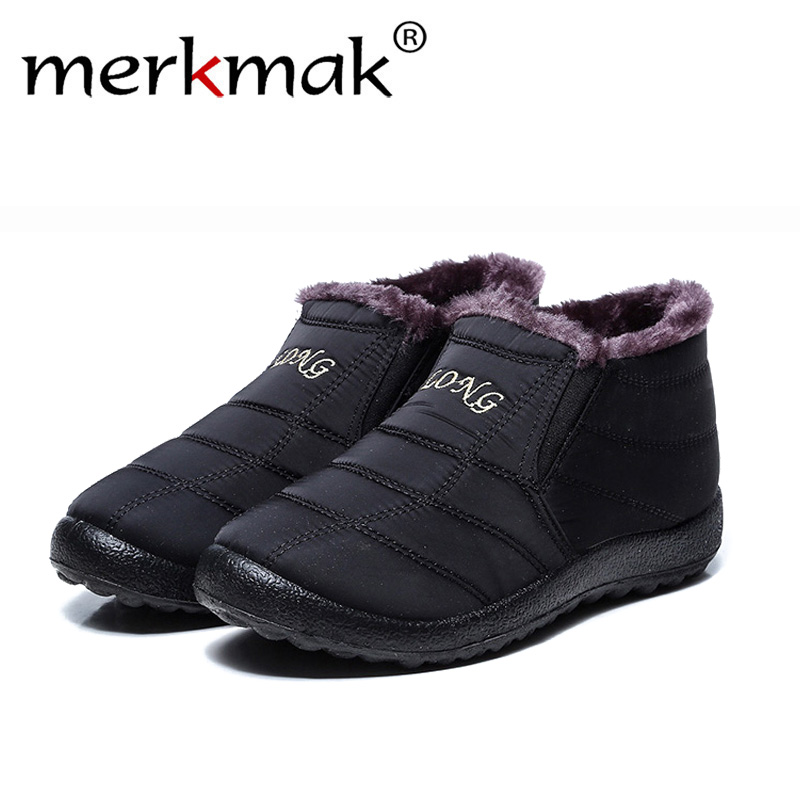 Merkmak Winter Shoes Snow-Boots Waterproof Size-35-47 New-Fashion Solid-Color Men Bottom