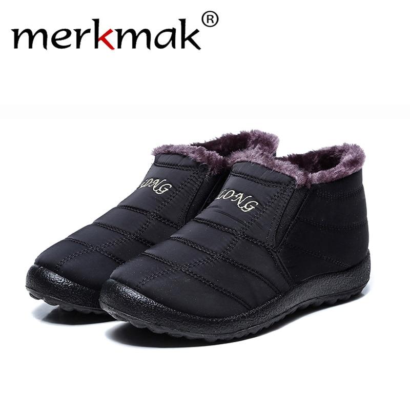 Merkmak Men Winter Shoes Solid Color Snow Boots Plush Inside Bottom Keep Warm Waterproof Ski Boots Size 35 - 47 New Fashion 2018