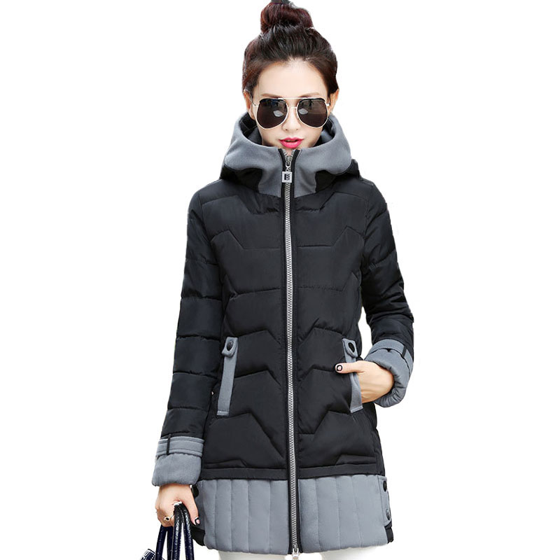 Women Winter Parka Hooded Jacket 2017 New Women's Slim Fit Winter Warm Cotton Padded Coat Ladies Quilted Jackets Outwear nike alliance parka 550 hooded