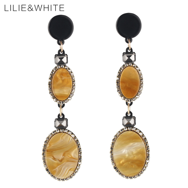 Lilie White Fashion Oval Acrylic Drop Earrings For Women Marble Effect Linear Hanging Costume Jewelry