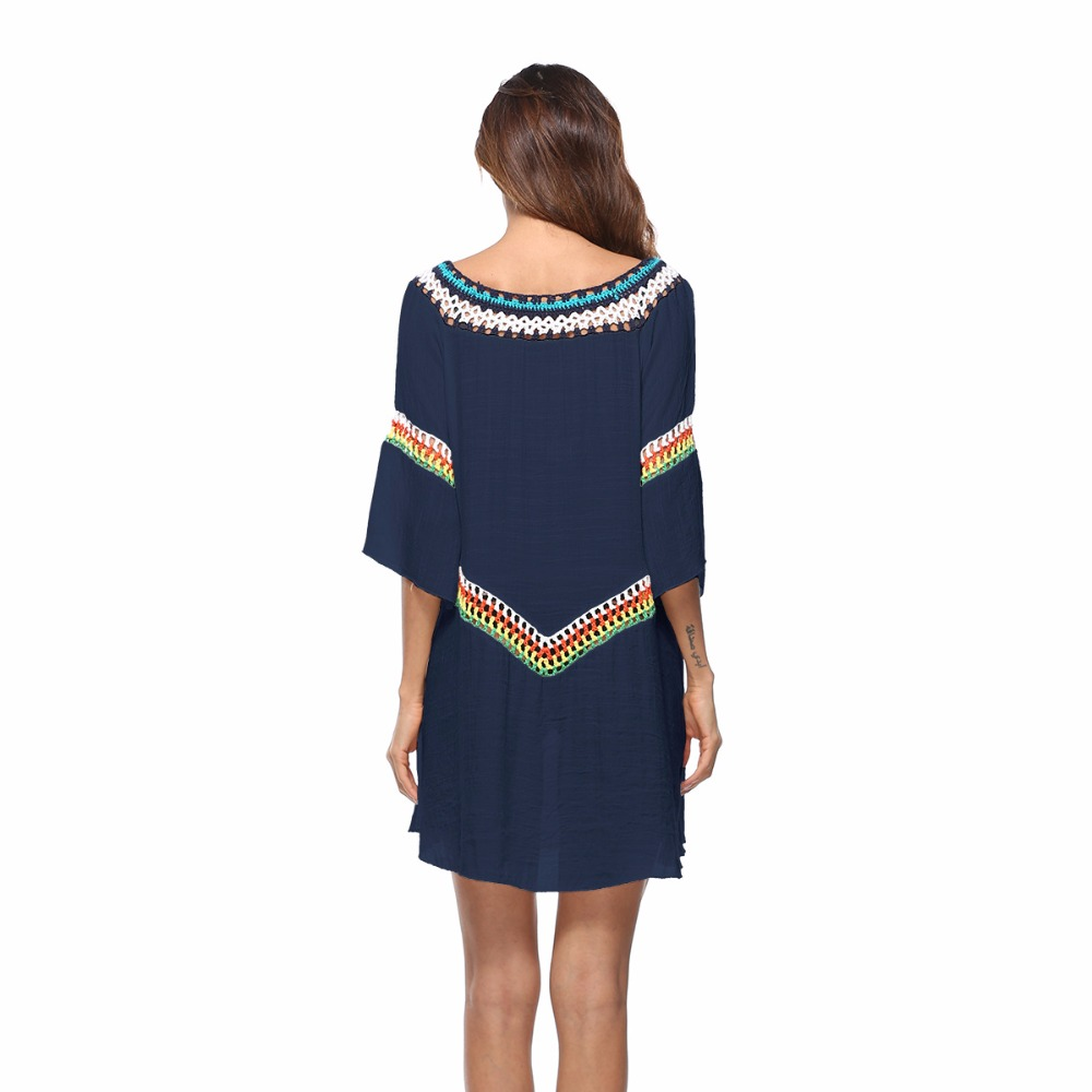 b7a2c7b374b Pareo Beach Dress Tunic White Cotton Sexy Patchwork Hollow Out Pool Party  Mini Dress Summer Women Beach Wear Swim Cover Up A13-in Cover-Ups from  Sports ...