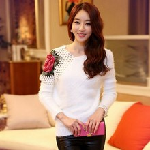 Knitted Sweater 2016 Fall Winter Women Korean Style Rose Flowers Floral Hollow Crochet Batwing Wool Pullover tricotado 2007