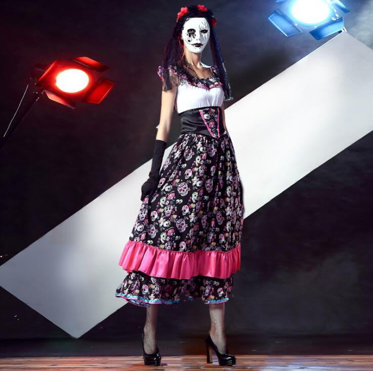 Hot Adult Skeleton Day of The Dead Costume Women's Sexy Sugar ...