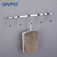 GAPPO 1 Set High Quality Bathroom Accessories Wall Mount 5 Hooks Stainless Steel Clothes Tower Hooks