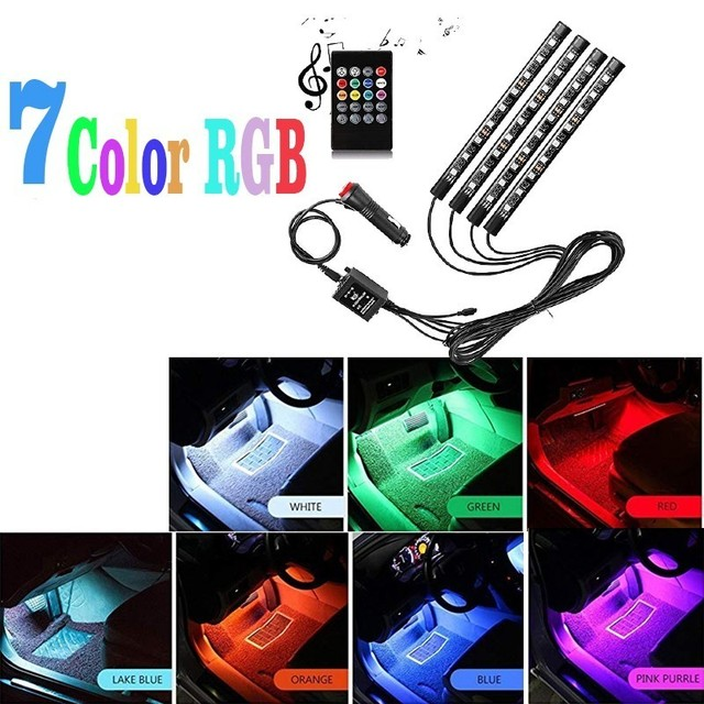 4X Car styling Wireless remote / music control Interior floor standing decoration light cigarette environment LED RGB strip lamp