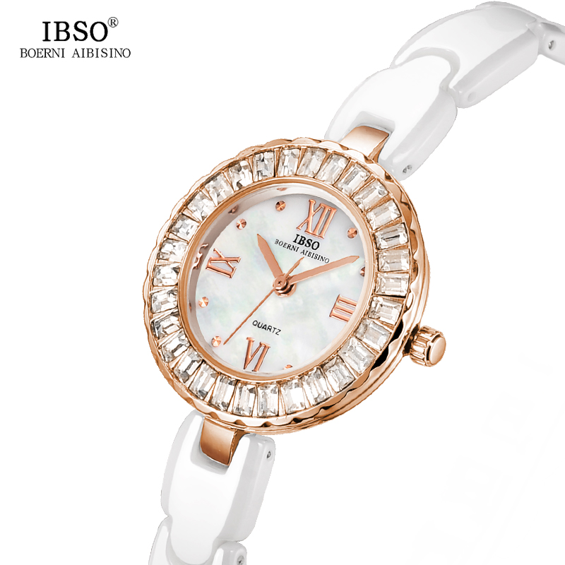 IBSO Ceramics Quartz Gold Watch Women  Brand Luxury 2017 Band Diamond Ladies Watches Fashion Montre Femme ibso top brand women watches 2017 shell dial genuine leather band watch women casual fashion quartz wristwatches montre femme