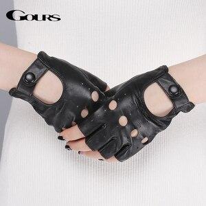 Image 3 - Gours Spring Womens Genuine Leather Gloves Driving Unlined Goatskin Fingerless Gloves Fingerless Gym Fitness Gloves GSL061