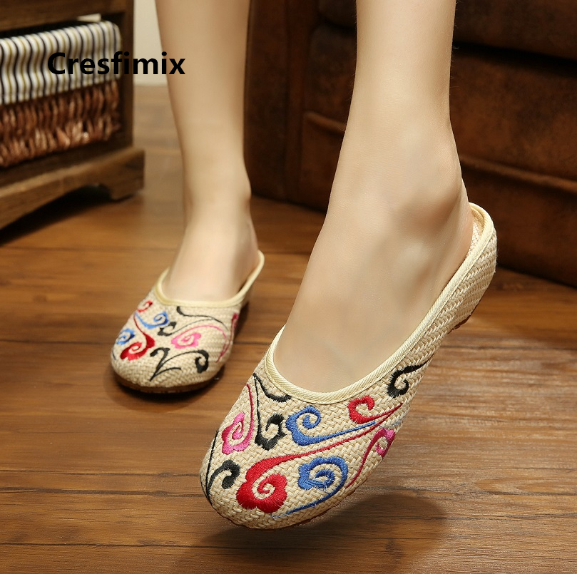 Cresfimix women fashion comfortable embroidery outside slippers lady spring summer home slides retro cute street slippers c2053Cresfimix women fashion comfortable embroidery outside slippers lady spring summer home slides retro cute street slippers c2053