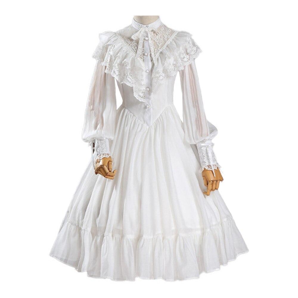 Robe Lolita manches longues robe en dentelle et mousseline de soie robe de mariée Lolita à volants