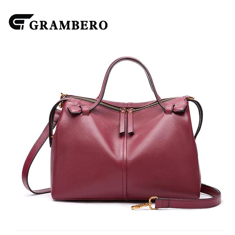 Fashion Boston Handbag Solid Color Genuine Leather Top Leather Zipper Top-handle Bag Lady Party Shoulder Crossbody Messenger Bag fashion relief rose flower pattern handbag pu leather genuine leather zipper ring top handle bag lady party shoulder bags gifts