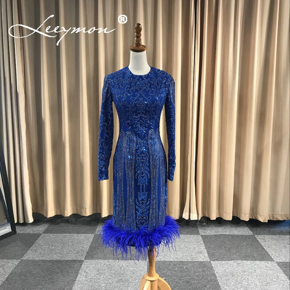 Royal Blue Glitter   Cocktail     Dresses   Knee-Length Long Sleeves Vestido De Festa Elegant Women Formal   Dress
