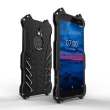 יוקרה באטמן Kickstand עמיד הלם מקרה עבור Nokia 7 בתוספת אלומיניום פגוש עור שריון מתכת כריכה אחורית