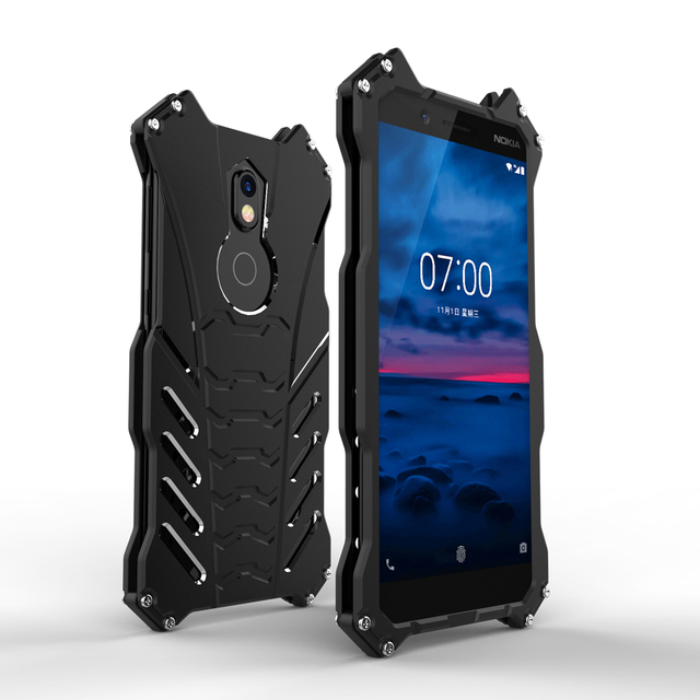 buy online 3b78d 36a2f US $15.19 29% OFF|Luxury Batman Kickstand Shockproof Case For Nokia 7 Plus  Aluminum Bumper Skin Armor Metal Back Cover-in Fitted Cases from Cellphones  ...