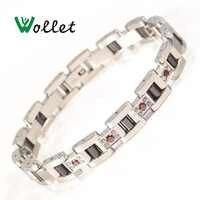 Wollet biżuteria 99.999% german czerwony CZ kamień czarny ceramiczny bransoletka bransoletka ze stali nierdzewnej dla kobiet różowe złoto srebro kolor
