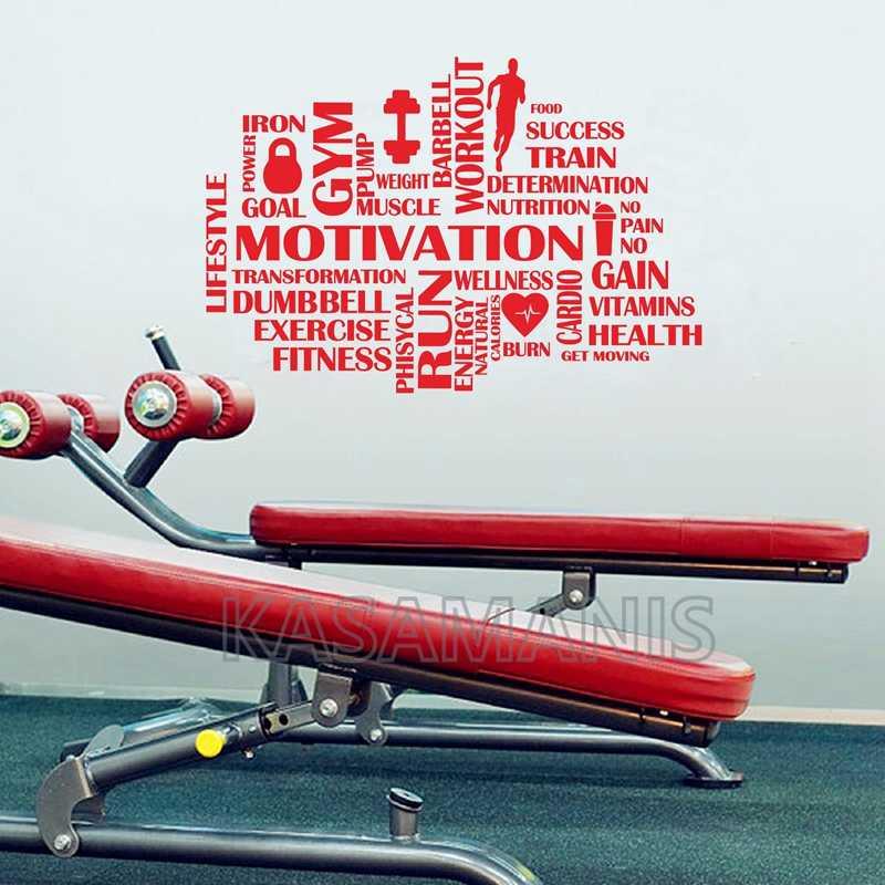 Gym Kata-kata Motivasi Dinding Kebugaran Olahraga Vinyl Stiker Dinding Dekorasi Rumah Gym Bekerja Hiasan Dinding