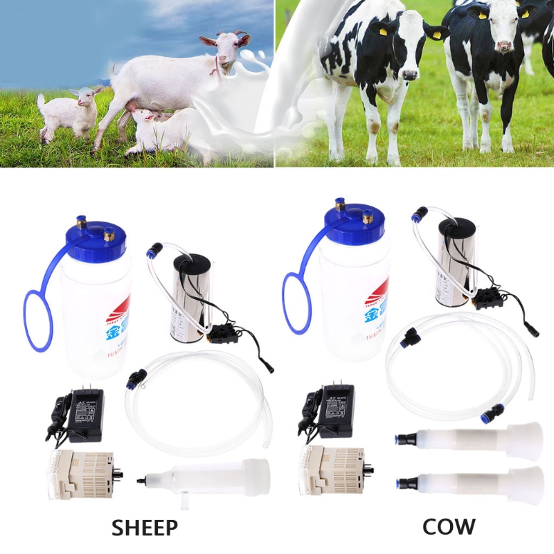 2L Milking Vacuum Pump Milk Machine Vacuum Pulse Goat Sheep Cow Electric Barrel US Plug cow milk of sodium carbonate decahydrate cosme cow 430ml