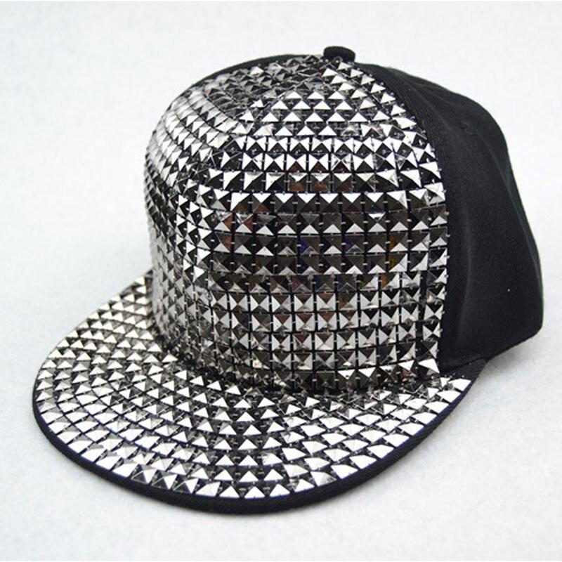 Men's Bboy Hip Hop Flat   Baseball     Cap   Sequin Bling Snapback Hat Black Gold Silver Blue