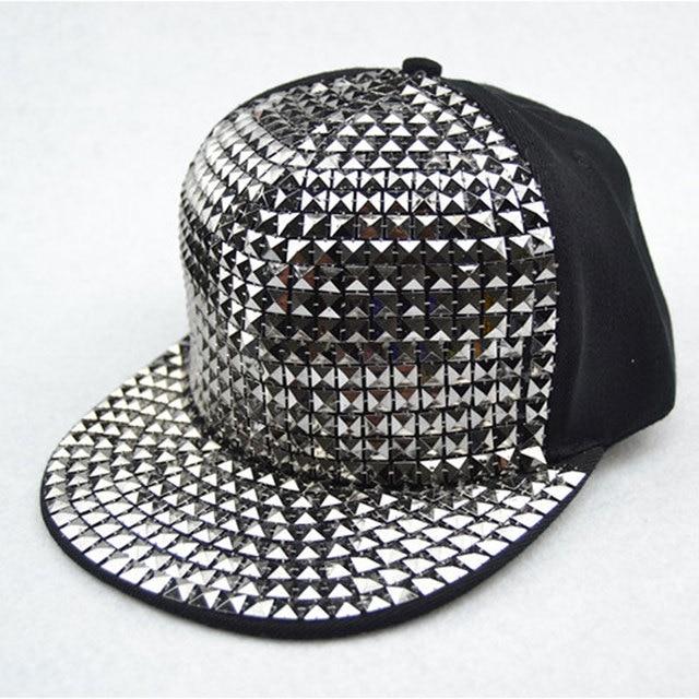 Uomo Bboy Hip Hop del Berretto Da Baseball Piatto Sequin di Bling Cappello  di Snapback Oro 989351ec168f