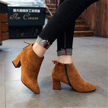 feiyitu 2019 Boots For Women Pointed Toe Autumn Riding Boots Hoof Heels Prom Shoes Female Winter Fashion Ankle Boots black yello yello touch yello