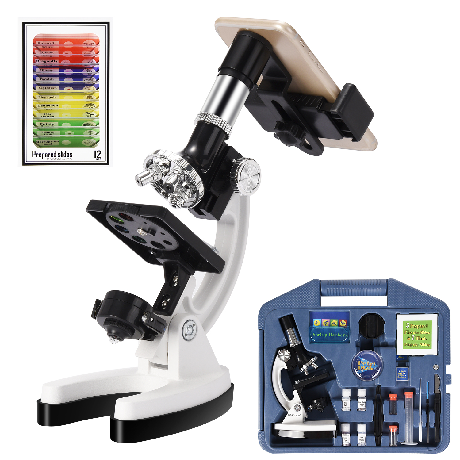 100X-1200X Kids Beginner Biological Microscope Metal Body With Phone Holder Adapter Plastic Slides And Carrying Box