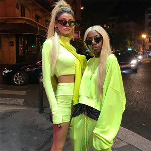 Image 4 - SheBlingBling Neon Fitness 2 Piece Set Women Clothing Set Long Sleeve Crop Tops Gym High Waist Shorts Cycling Set Female Outfits