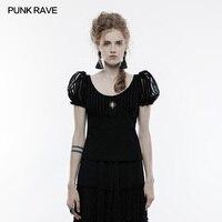 Punk Rave Black Steampunk Short Sleeve T Shirt Women Sweet Vestido Gothic Gothique Harajuku Lolita T