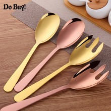 1PC Large Salad Serving Spoon or Gold Metal Fork Kitchen 304 Stainless Steel Fruit Pick Tool Cutlery Set Utensils