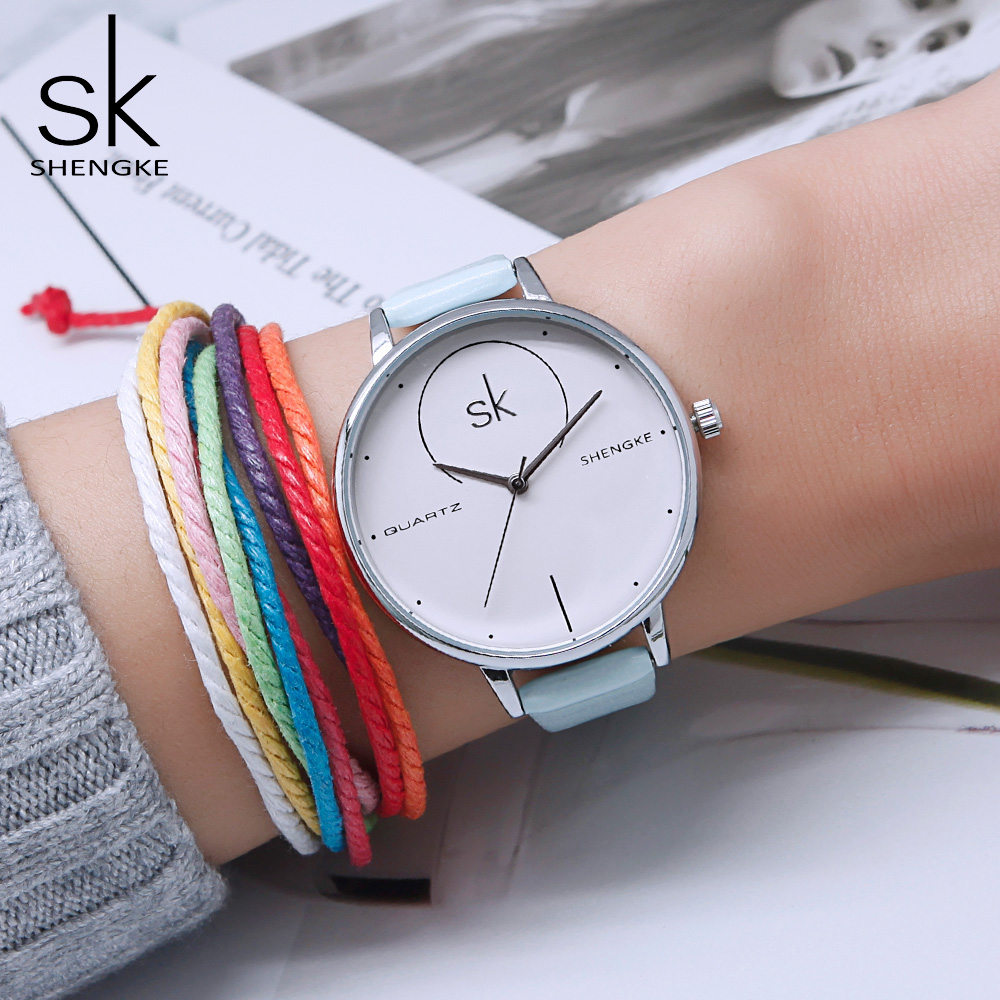 где купить Shengke Top Brand Luxury Watches Women Fashion Quartz Watch Leather Wristwatch Ladies Clock Relojes Mujer 2018 SK #K0040 по лучшей цене