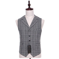 Fashion new black stripes and black plaid lapel sleeveless men tuxedo vest workmanship exquisite custom made