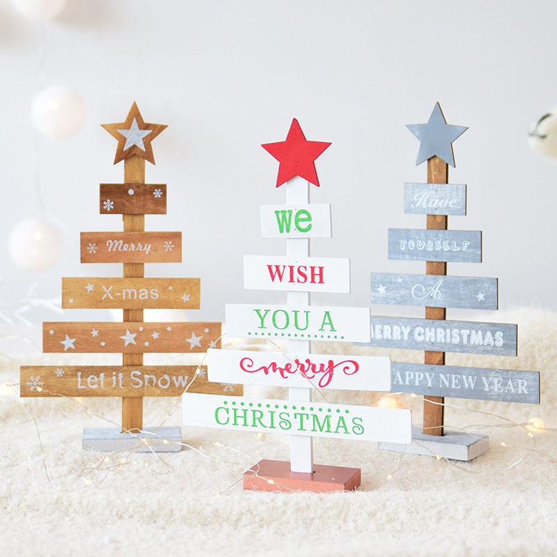 1 PC 27.5*8 cm Wooden Christmas Tree Letter Printed Table Desktop Decoration Ornament Christmas New Year Birthday Gift For Kids floral chiffon dress long sleeve