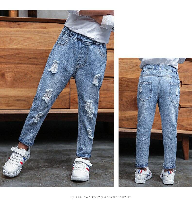 Menina meninos jeans rasgado outono crianças calças