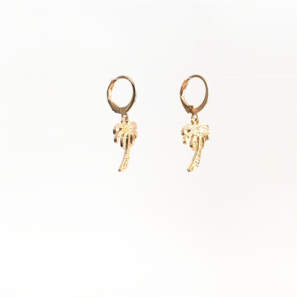 TRENDY GOLD COLOR PLATING PALM TREE CHARM WOMEN DROP EARRINGS