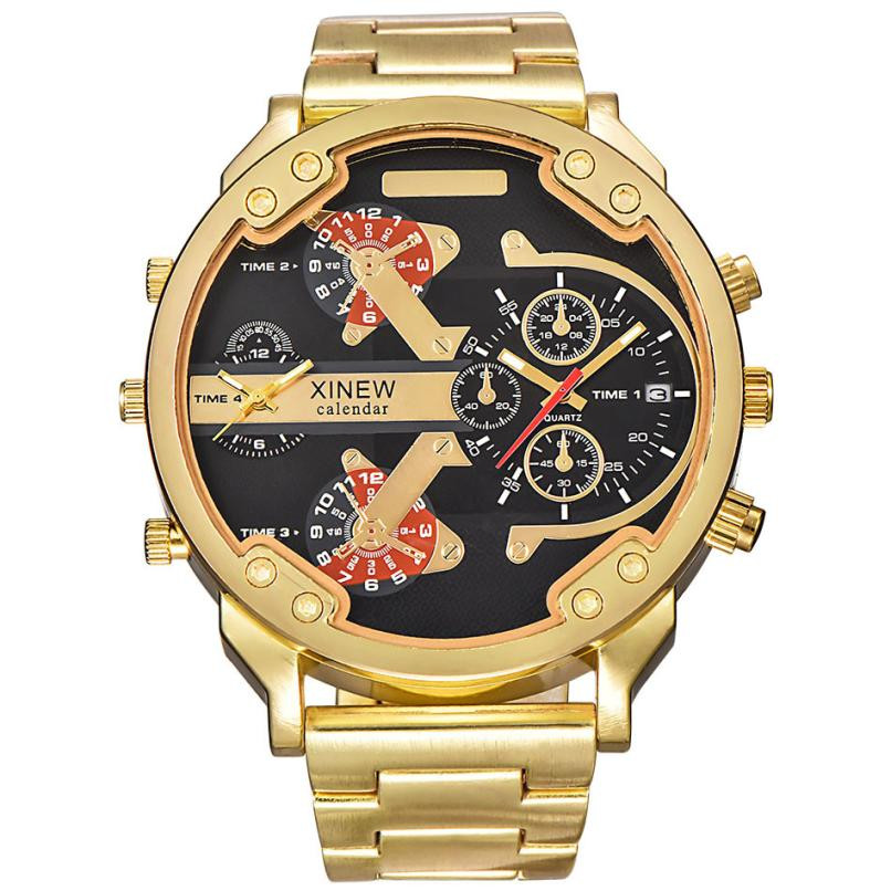 XINEW Top Luxury Brand Men's Fashion Stainless Steel Band Gold Sport Watches Date Time Alloy Dial Analog Quartz Mens Wrist Watch top brand luxury digital led analog date alarm stainless steel white dial wrist shark sport watch quartz men for gift sh004