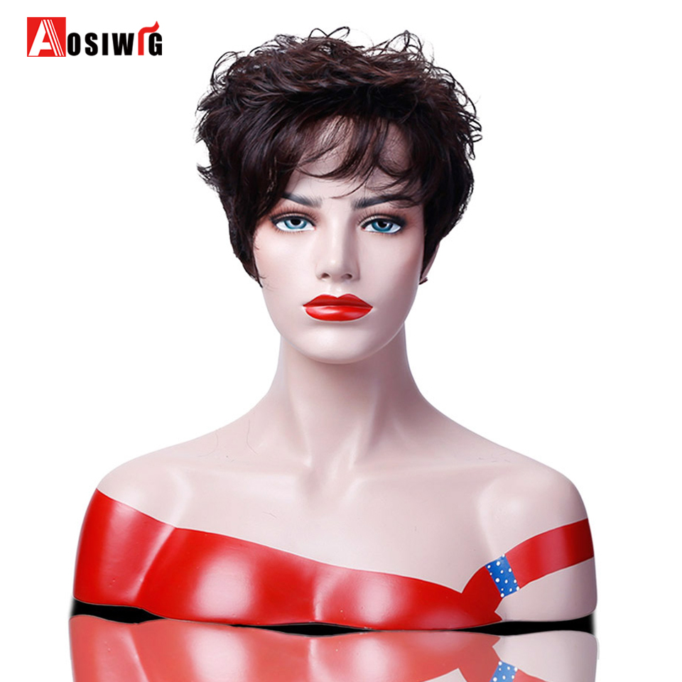 AOSIWIG Fashion Short Curly Wigs 2 Colors Full Wig High Temperature Fiber Synthetic Wigs For Black Women