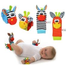 whole 18colors Baby Toys Beads Bracelet Foot Rattles Socks Garden Protect Wrist  Animal Wrist Stripe Foot ring SocksSets gift