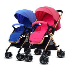 Baby stroller twins trolley folding two-way can be sitting can be lying baby double umbrella carts