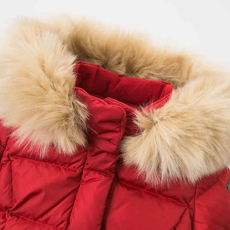 DB8836 dave bella/зимнее пуховое пальто для малышей Верхняя одежда с капюшоном для девочек Детская куртка на 90% белом утином пуху с меховой подкладкой