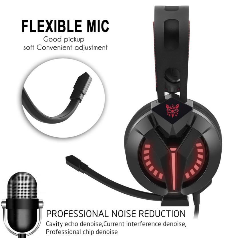 overmal PS4 Gaming Headset Over Ear Stereo Bass Gaming Headphone with Noise Isolation Microphone For PS4 Xbox One S PC MP3/MP4