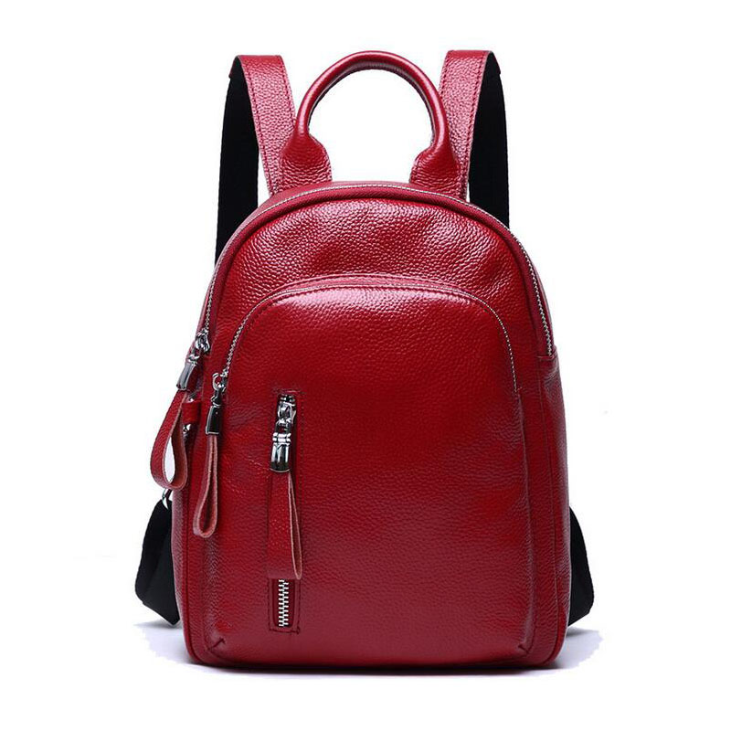 Women Backpack For Shopping Luxury Brands Designer Genuine Leather Fashion Travel Bags School Backpack For Teenage Girls Red